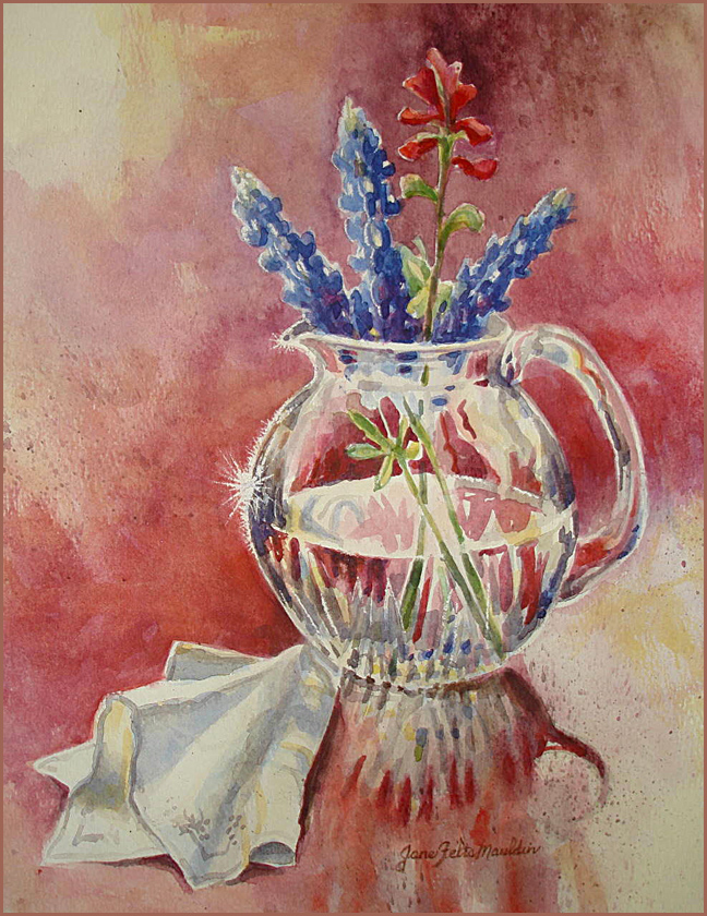 Bluebonnets and Glass Still Life